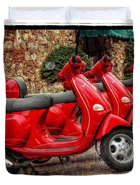 Red Vespas Duvet Cover