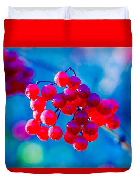Red Viburnum Berries Duvet Cover