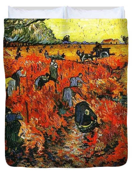 Red Vineyard Duvet Cover