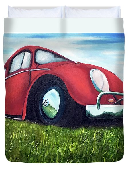 Red Vw Duvet Cover