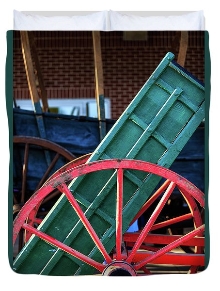 Red Wagon Wheel Duvet Cover