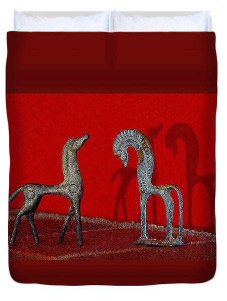 Duvet Cover featuring the digital art Red Wall Horse Statues by Jana Russon