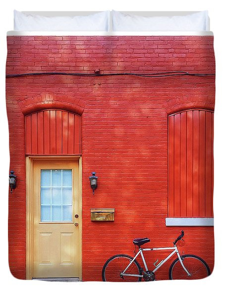 Red Wall White Bike Duvet Cover