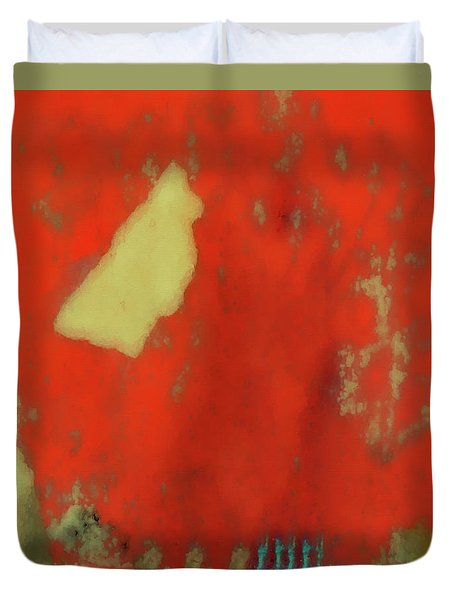 Red Wall With Boot  Duvet Cover