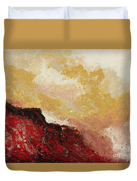 Red Waves Duvet Cover