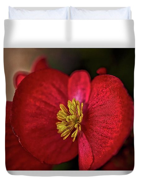 Red Wax Begonia Duvet Cover
