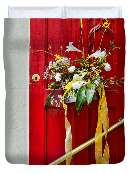 Red Welcome Duvet Cover by Christopher Holmes