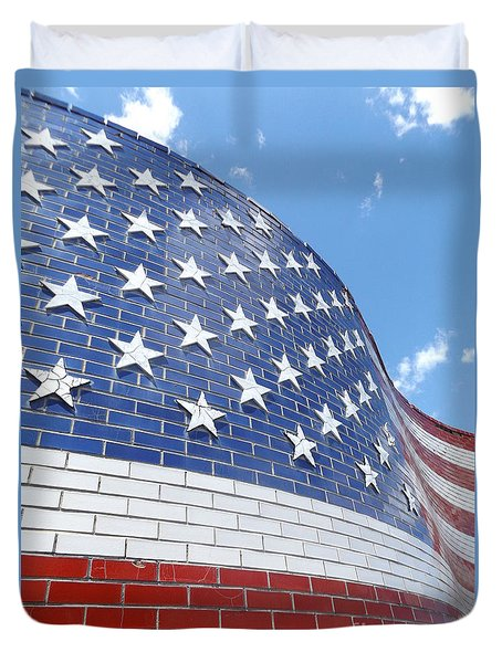 Red White And Blue Duvet Cover by Erick Schmidt