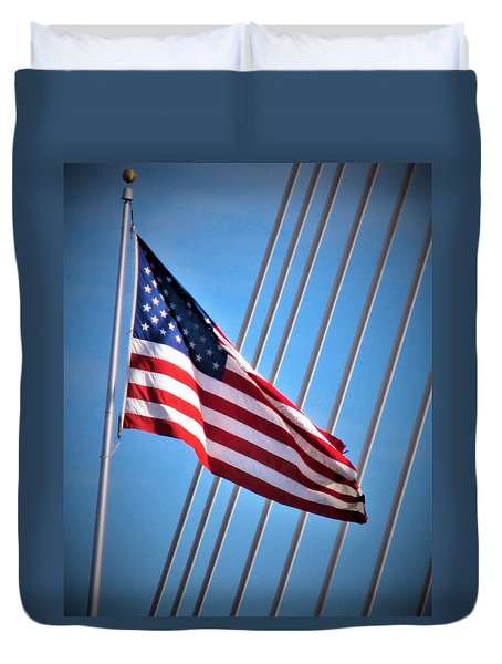 Red, White And Blue Duvet Cover by Martin Cline