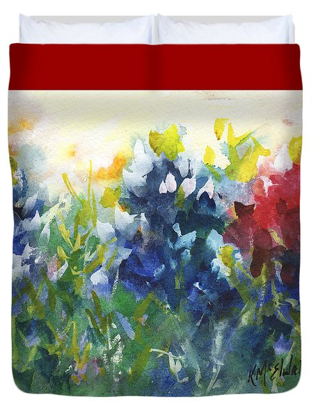 Red White And Bluebonnets Watercolor Painting By Kmcelwaine Duvet Cover