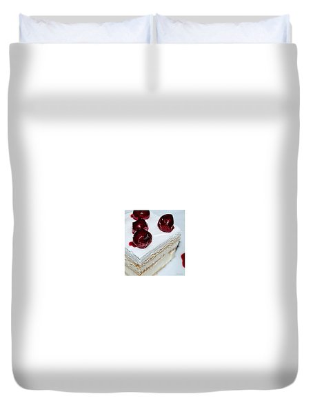Red-white Cubes Duvet Cover by Marija Djedovic