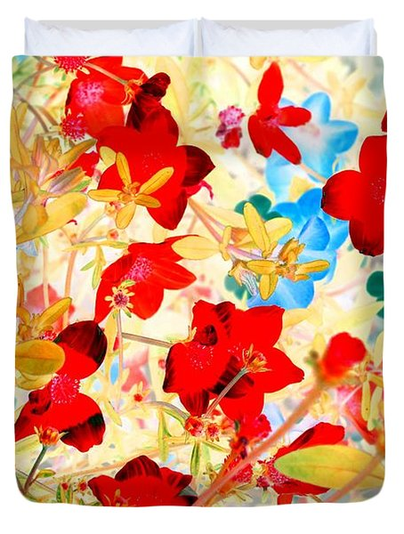 Duvet Cover featuring the photograph Red Wild Flowers by Marianne Dow