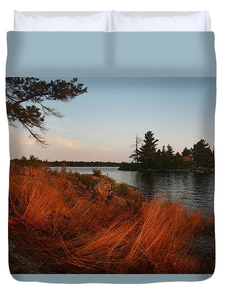 Red Wild Grass Georgian Bay Duvet Cover