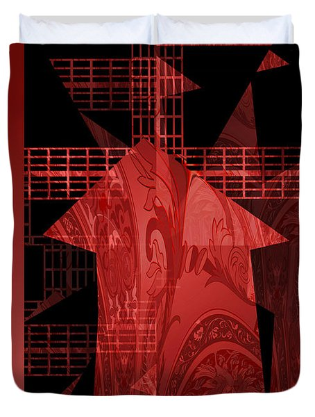 Red Windmill Abstract Duvet Cover