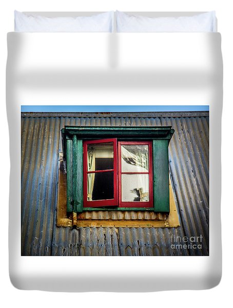 Duvet Cover featuring the photograph Red Windows by Perry Webster