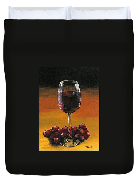 Red Wine And Red Grapes Duvet Cover