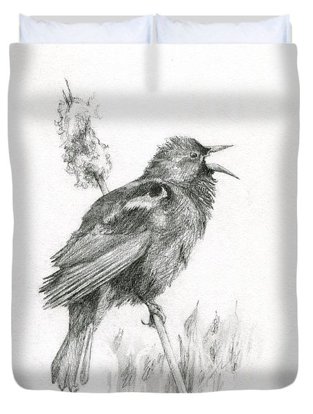Red-winged Blackbird Duvet Cover