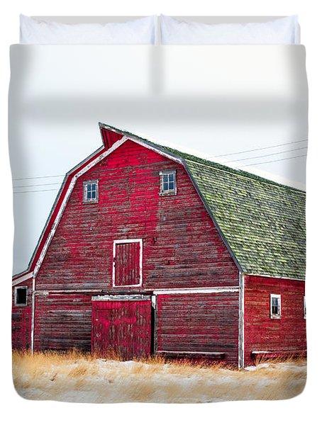 Red Winter Barn Duvet Cover