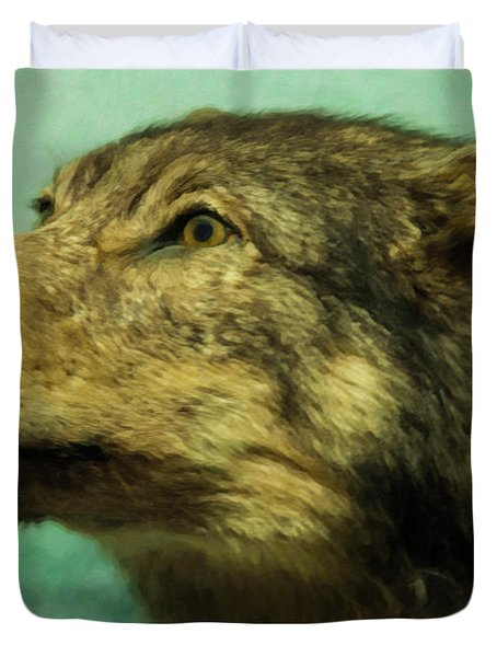 Duvet Cover featuring the digital art Red Wolf Digital Art by Chris Flees