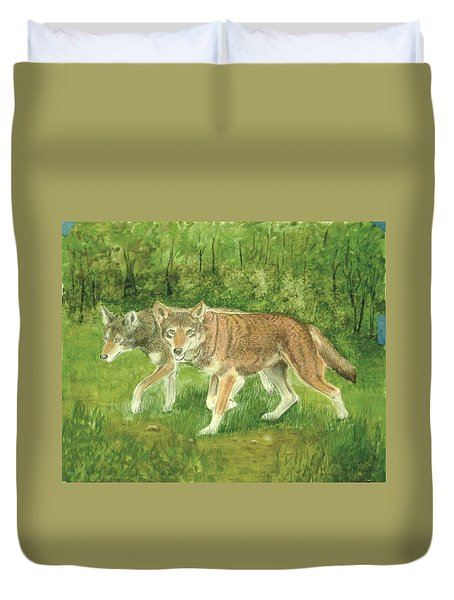 Red Wolves Duvet Cover