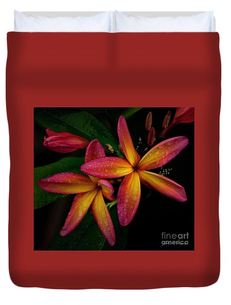 Red/yellow Plumeria In Bloom Duvet Cover
