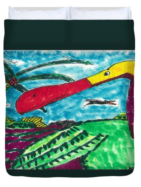 Duvet Cover featuring the drawing Redbill Stork by Don Koester