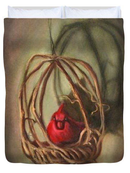 Duvet Cover featuring the painting Redbird by Randol Burns