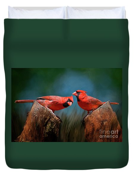 Duvet Cover featuring the photograph Redbird Sentinels by Bonnie Barry