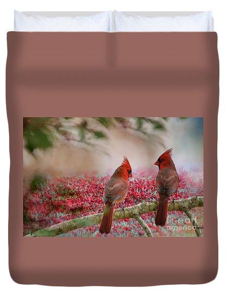 Redbirds At Dusk Duvet Cover