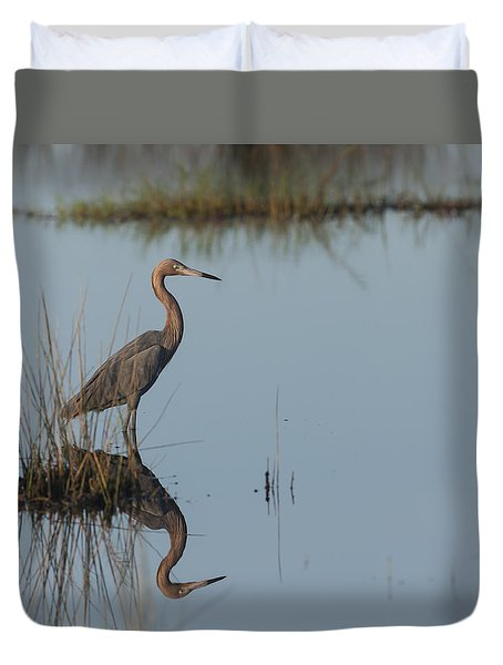 Reddish Egret And Reflection In The Morning Light Duvet Cover
