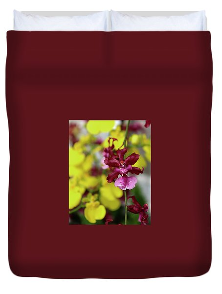 Maroon And Yellow Orchid Duvet Cover