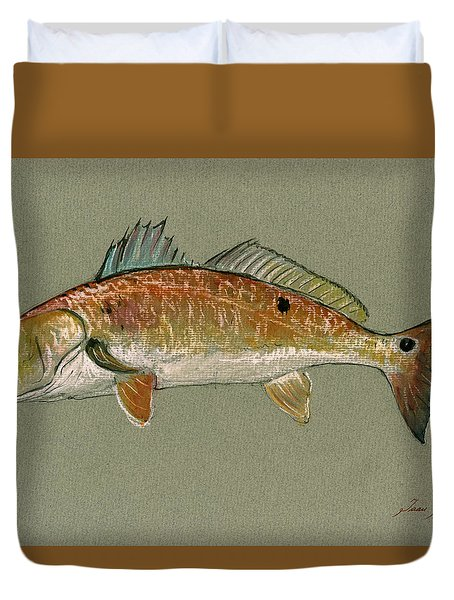 Redfish Watercolor Painting Duvet Cover