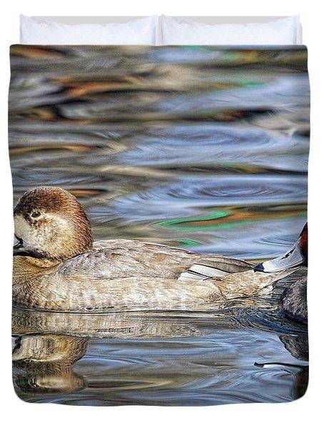 Redhead Duck Pair Duvet Cover