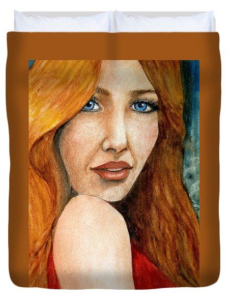 Redhead In October Duvet Cover