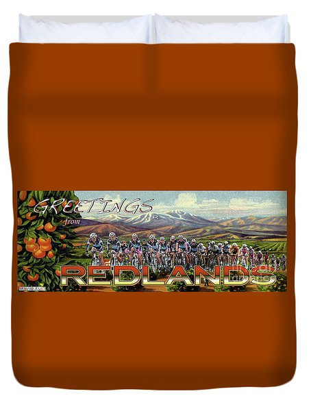 Redlands Greetings Duvet Cover by Linda Weinstock
