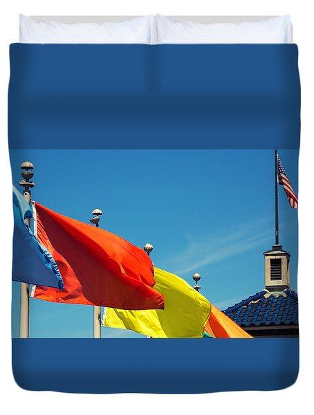 Redondo Beach Flags Duvet Cover