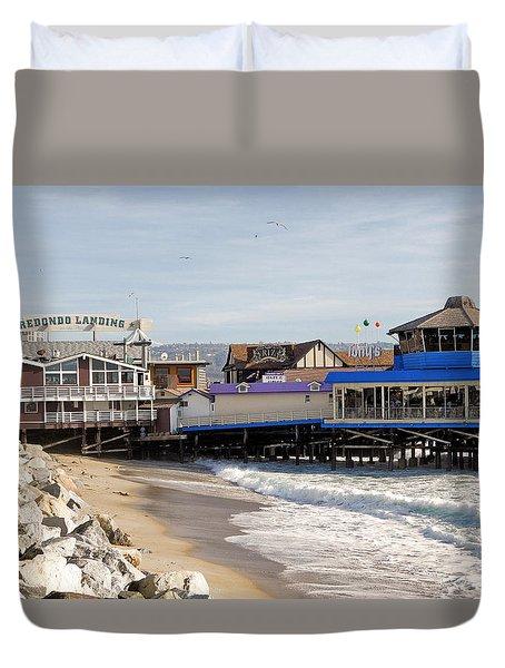 Redondo Beach Pier Shopping Duvet Cover