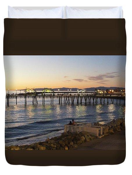 Redondo Pier At Sunset Duvet Cover