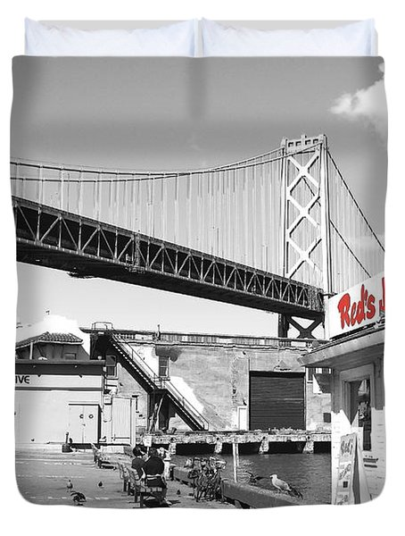 Reds Java House And The Bay Bridge In San Francisco Embarcadero . Black And White And Red Duvet Cover