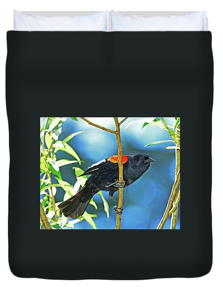 Duvet Cover featuring the photograph Redwing Blackbird by Jack Moskovita