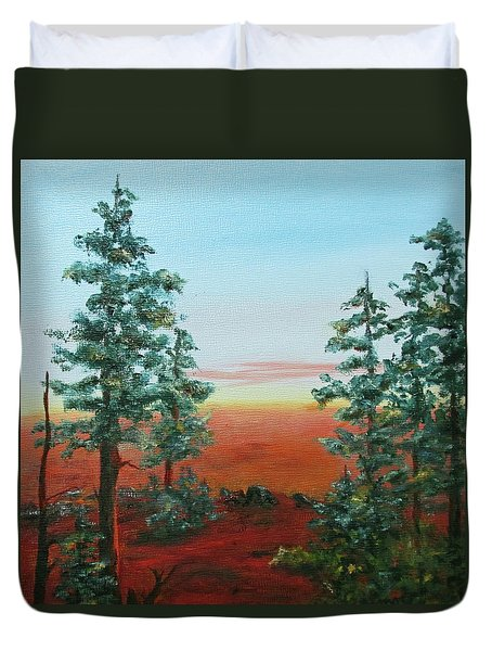 Duvet Cover featuring the painting Redwood Overlook by Roseann Gilmore