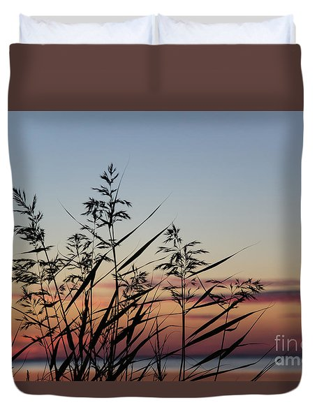 Reed By Coast At Sunset Duvet Cover
