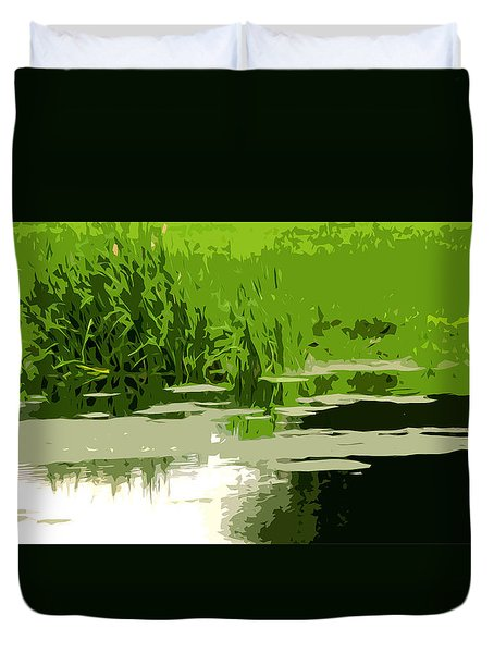 Reeds At The  Pond Duvet Cover