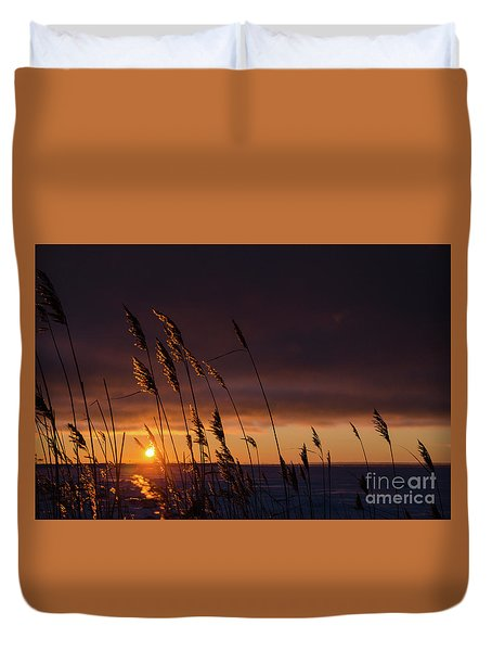 Reeds By Sunset Duvet Cover