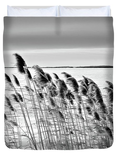 Reeds On A Frozen Lake Duvet Cover