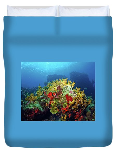 Reef Scene With Divers Bubbles Duvet Cover