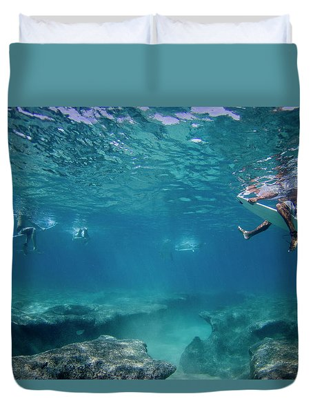 Reef Surfers Duvet Cover by Sean Davey