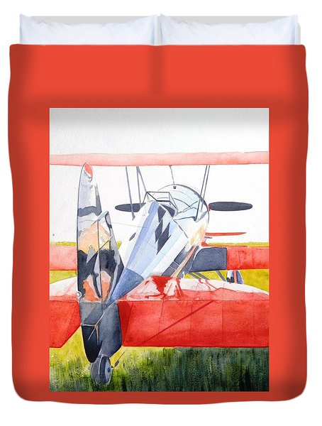 Reflection On Biplane Duvet Cover
