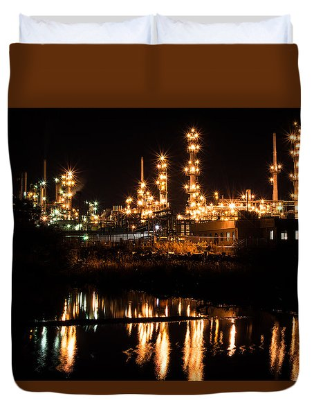 Refinery At Night 1 Duvet Cover