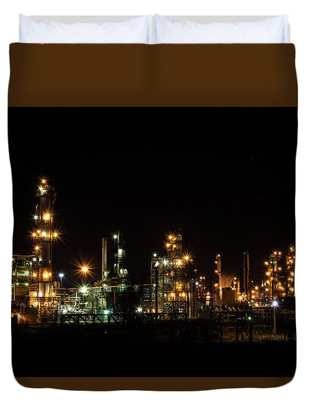 Refinery At Night 2 Duvet Cover